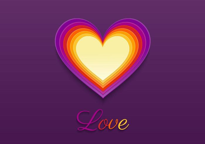 Bright Layered Heart Vector Background