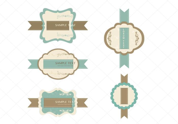 Vintage Ribbon Label Vector Pack