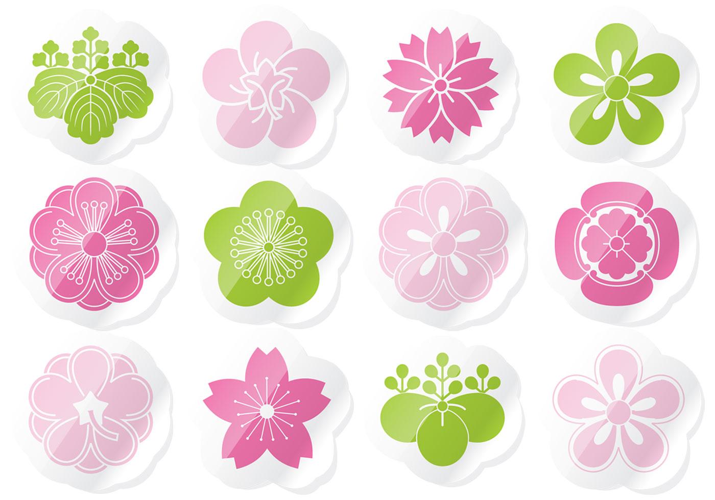 Flower Sticker Vector Pack Download Free Vectors Clipart Graphics Vector Art
