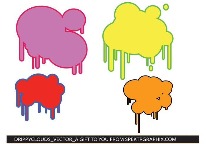 Drippy Paint Cloud Vectors