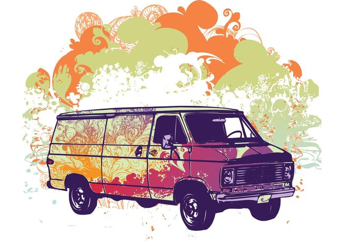 Free psychadelic van vector illustration
