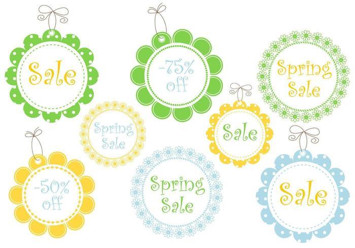 Floral Spring Sale Tag Vectors