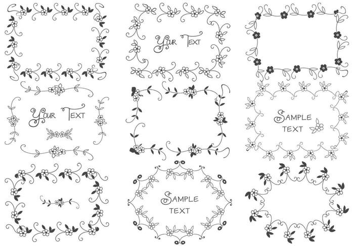 Hand Drawn Floral Frame Vectors Pack