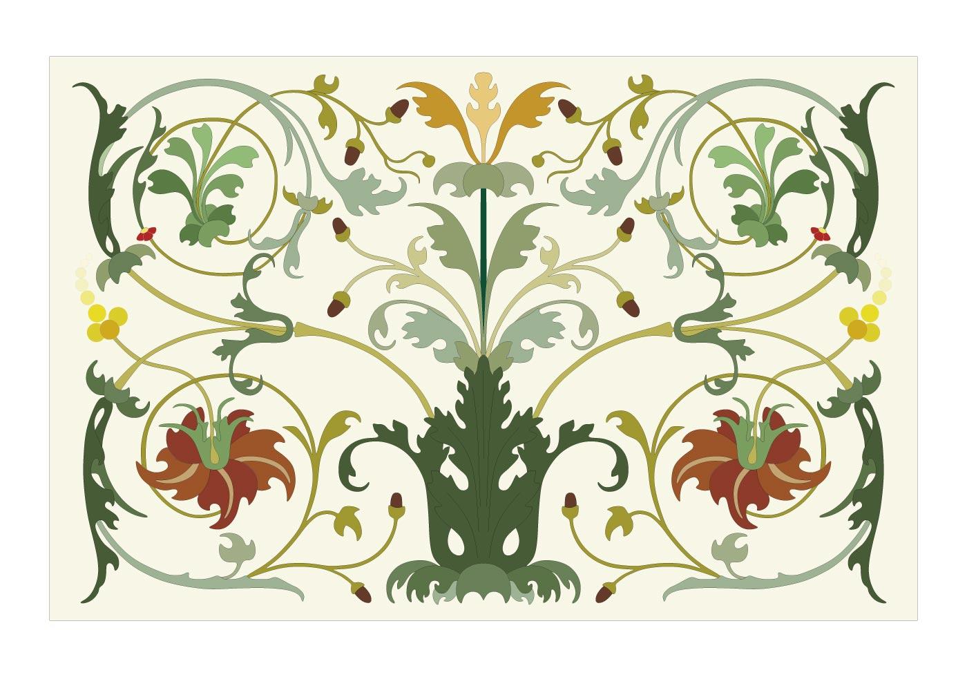 Растительный орнамент в росписи стен
