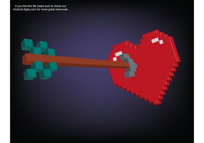 3D Pixel Heart and Arrow
