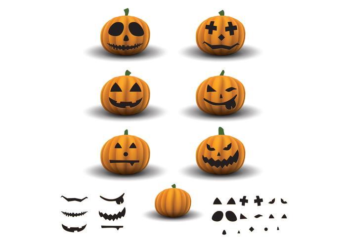 Scary Halloween Pumpkins Vector