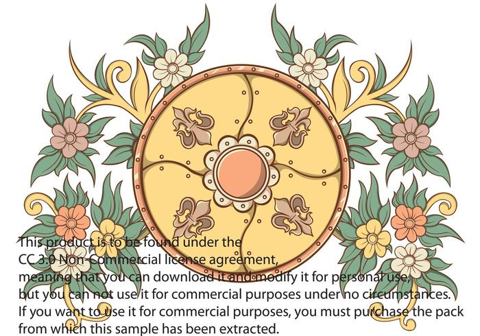 Shield and Floral Vector Element