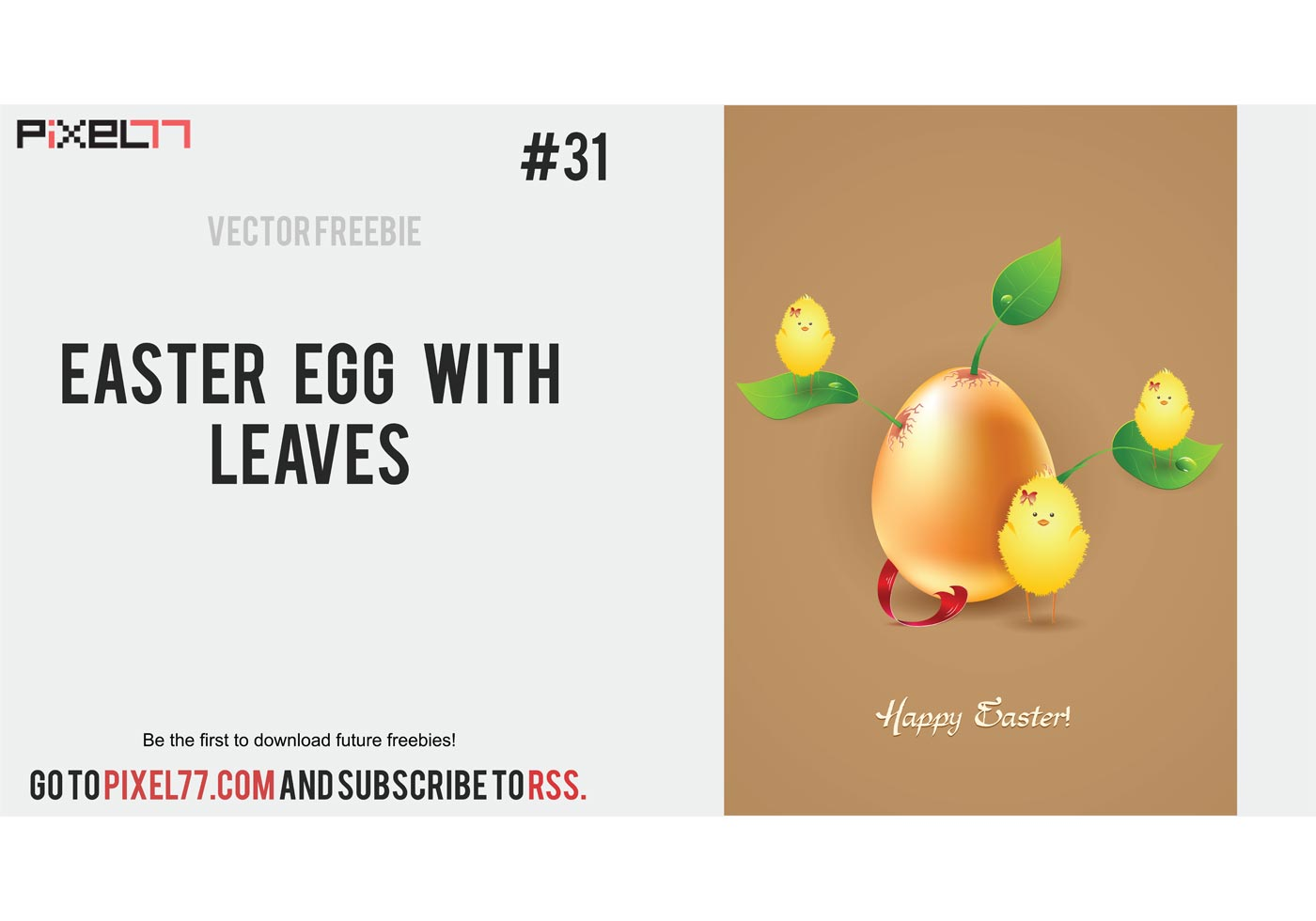 Easter Vector Card Egg With Leaves