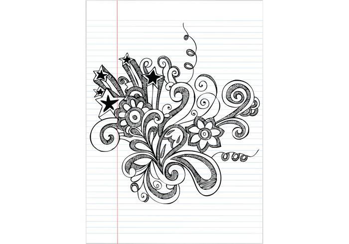 Dibujado a mano portátil Doodle flor ilustración vectorial