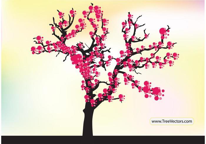 Vecteur d'arbre à fleurs de cerisier