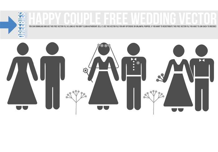 Happy Couple Free Wedding Vector