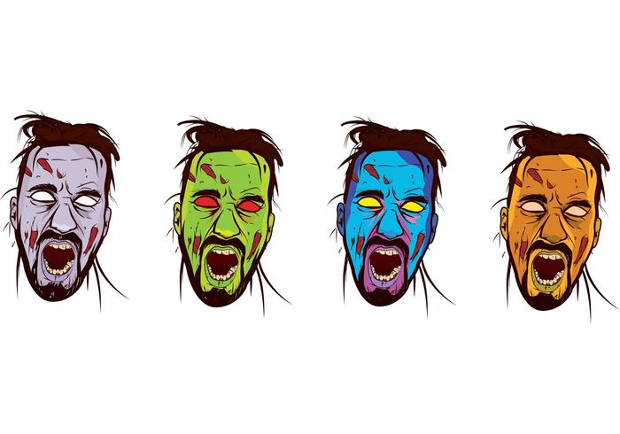 Zombie Face Color Vector