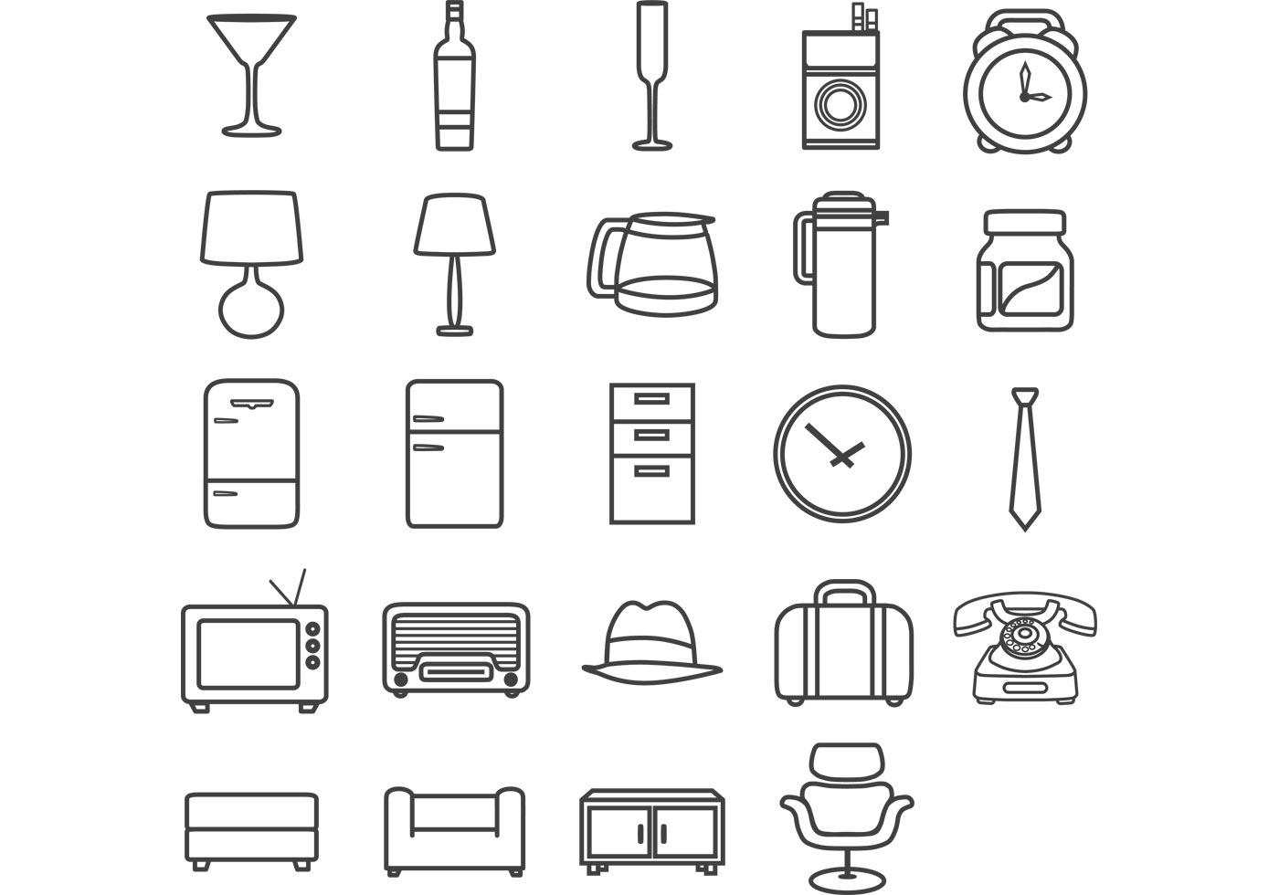 Minimal retro icon pack download free vector art stock for Minimal art vector