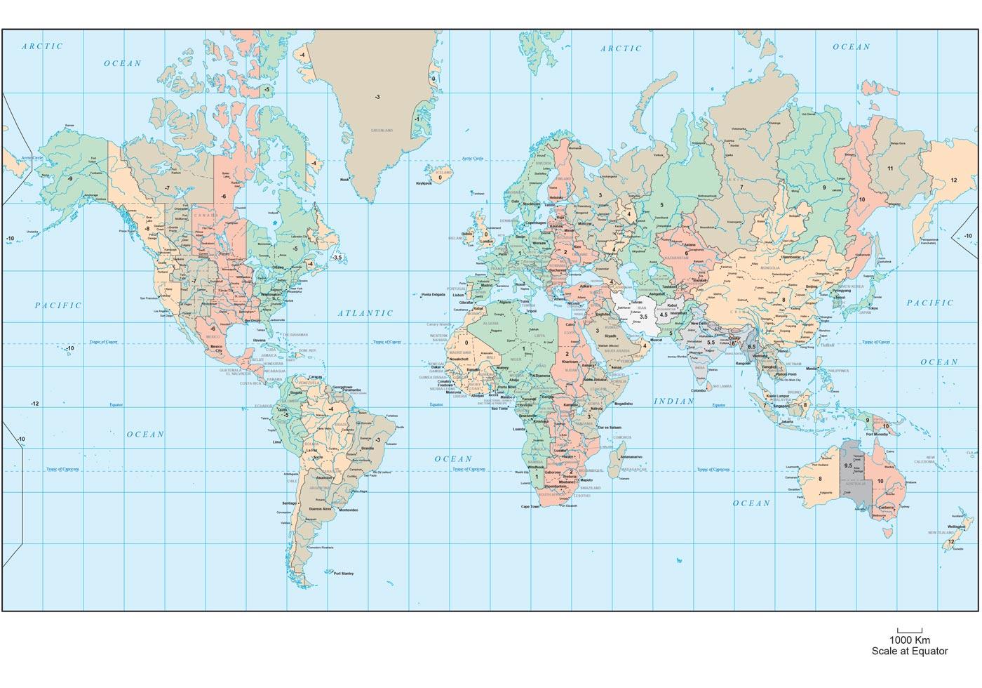 World Map Time Zones Vector - Download Free Vector Art ...