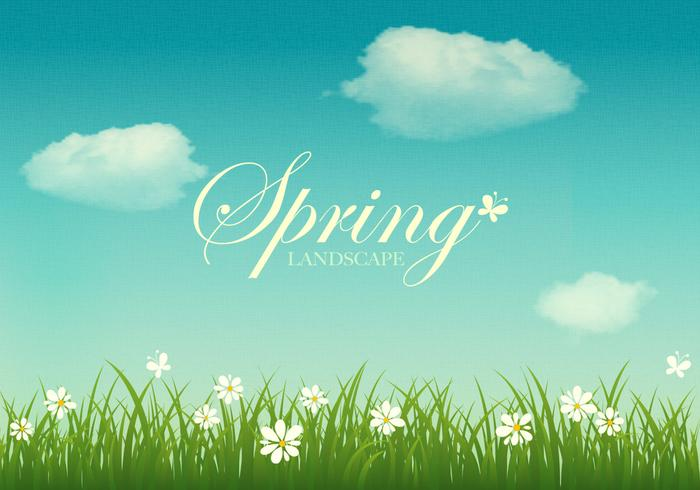 Textured Spring Landscape Vector Background