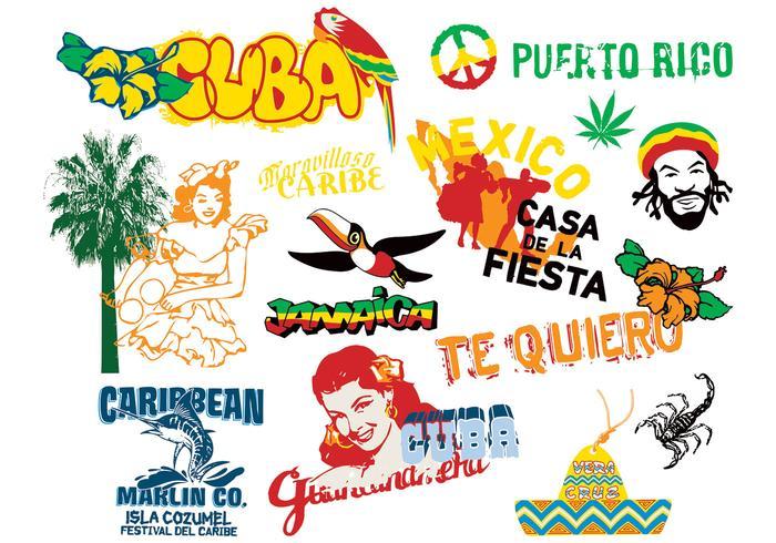 Elementos de la cultura del Caribe Vector