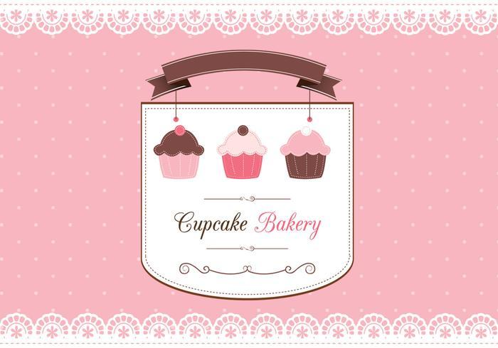 Cupcake scrapbook card vector