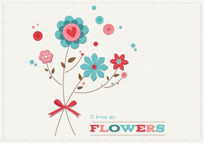 Scrapbook Flowers Card Vector