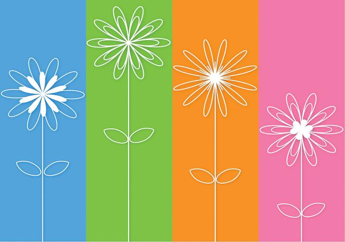 Abstract 3D Outlined Flowers Vector
