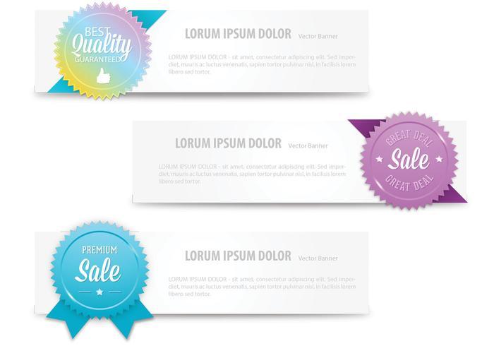 Bright Colored Label Banner Vectors