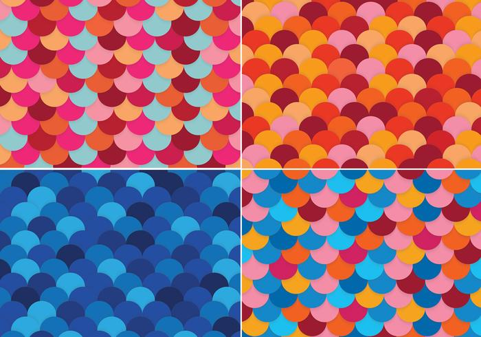Colorful Fish Scale Backgrounds Vector