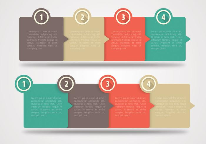 Four Steps Horizontal Banners Vector