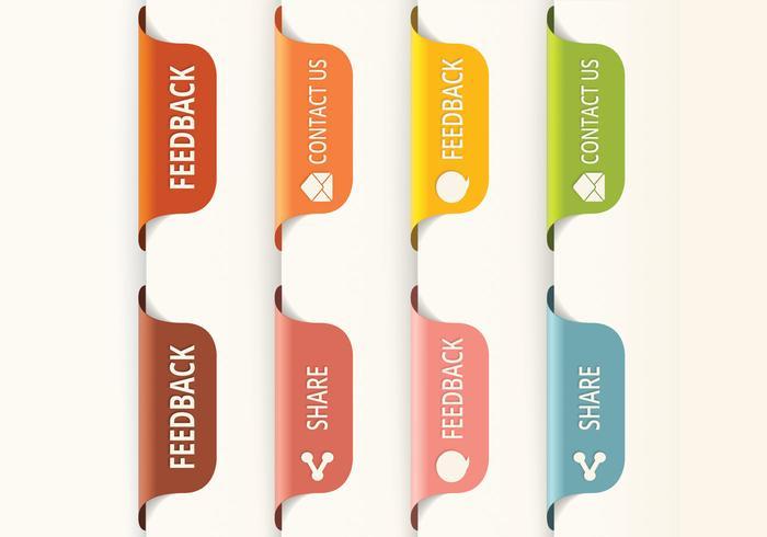 Vectores de botones de pestaña de retroalimentación vertical
