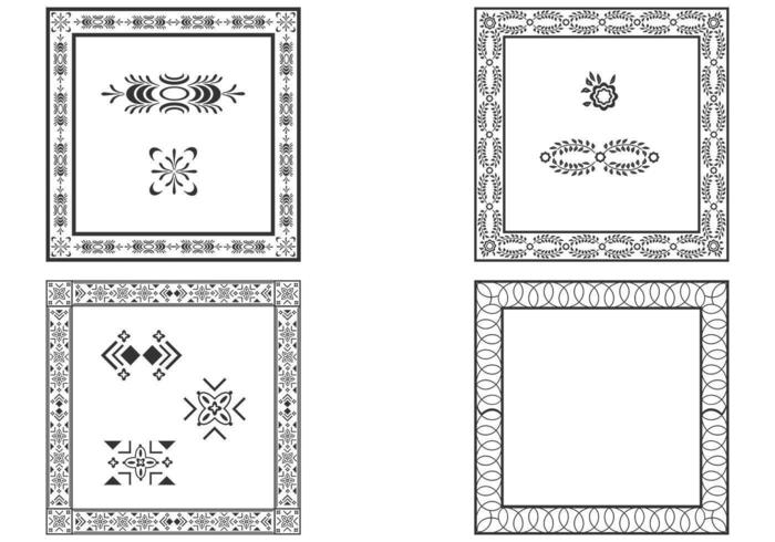 Dekorativa kvadrera ramar vektor uppsättning