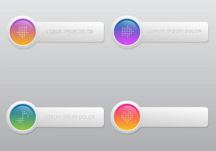 Bright Colored Button Vector Set
