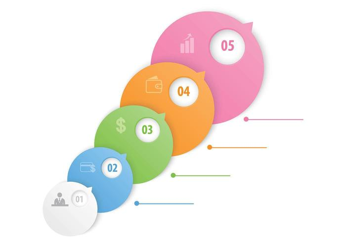 Bubble Option Steps Template Vector