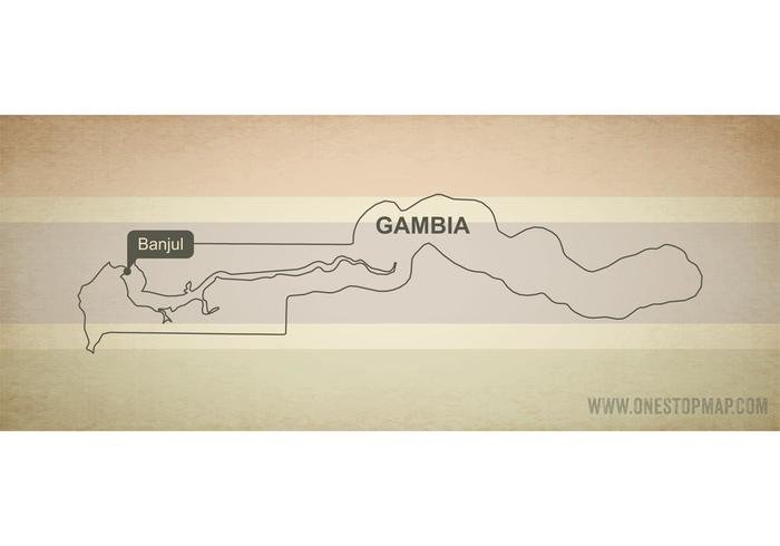 Free Vector Map of Gambia