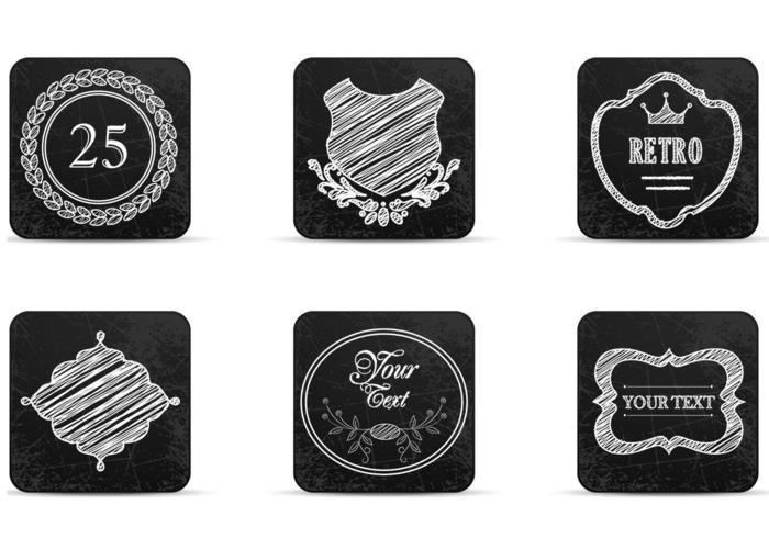 Chalk Drawn Retro Label Icons Vectors