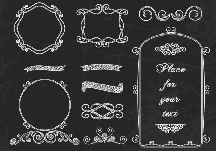 Curly Chalk Frames & Borders Vectors