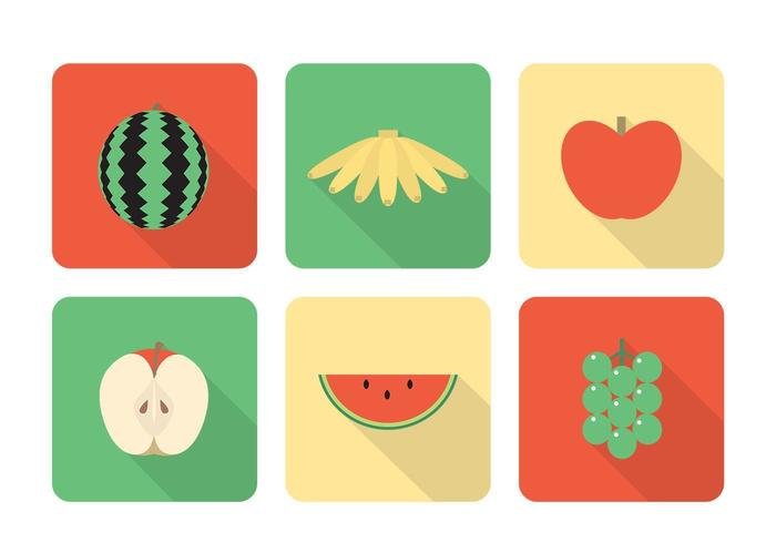 Long Shadow Fruit Icon Vector Set