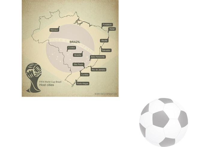 Brazil Map Vector with World Cup 2014 host cities