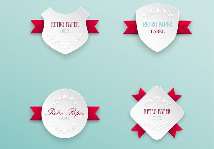 Retro Labels with Ribbons Vector Pack