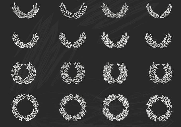 Chalk Drawn Laurel Wreath Vectors