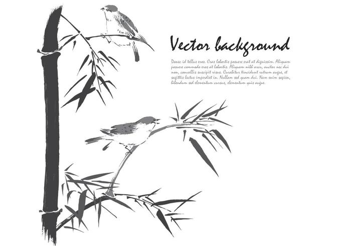 Ink Drawn Bamboo Birds Background Vector