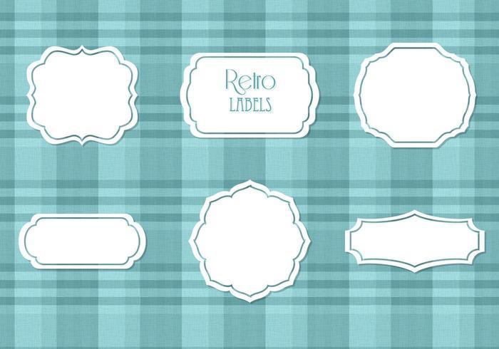 White Retro Labels Vector Set