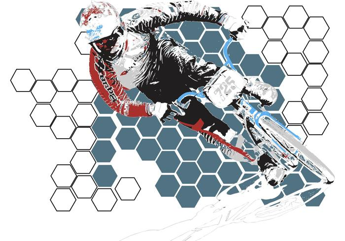 USABMX- BMX Biker Vector with Honeycomb Background