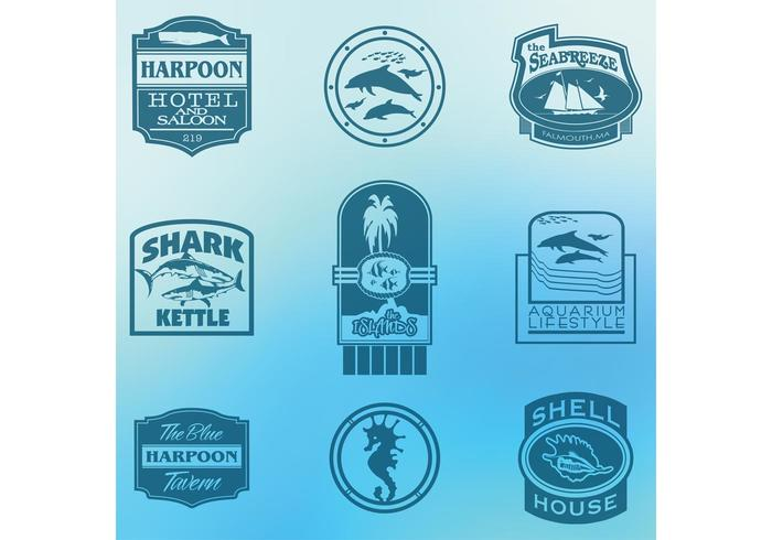 Sea and Ocean Tourism Label Vectors
