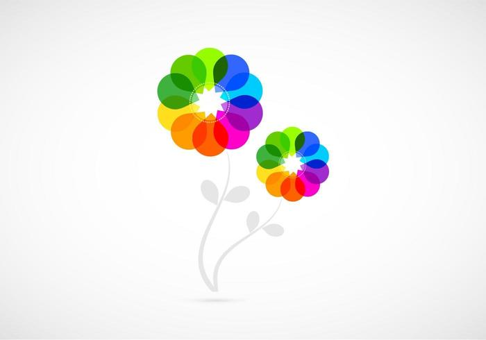 Bright Colored Abstract Flowers Vector