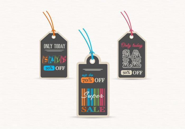 Schoolbord verkoop Label Tags Vector Set