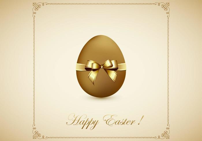 Golden Egg Happy Easter Vector