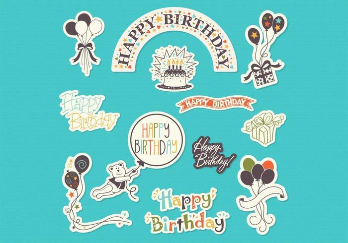 Etiquetas engomadas del feliz cumpleaños