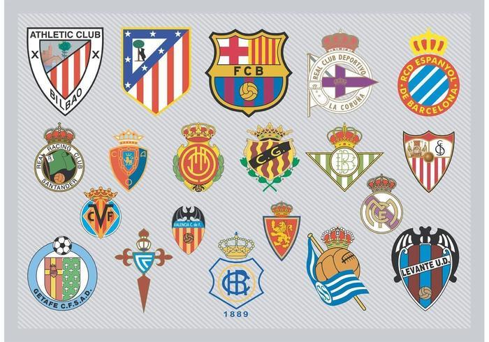 Logotipos da equipe espanhola de futebol vetor