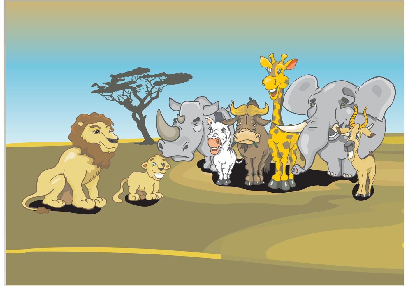African Animals Cartoon Download Free Vector Art Stock