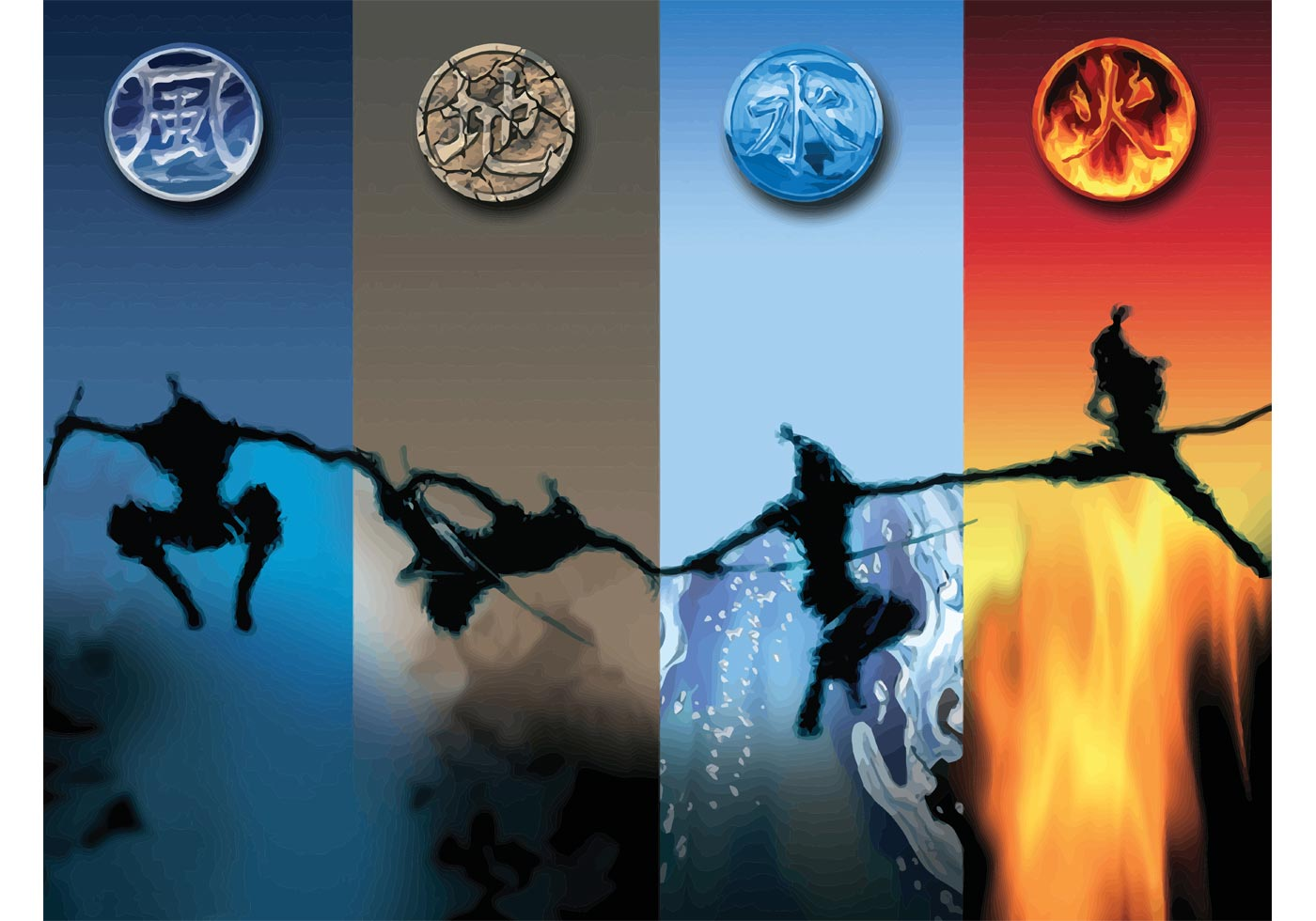 Four Elements Fighters Download Free Vector Art Stock
