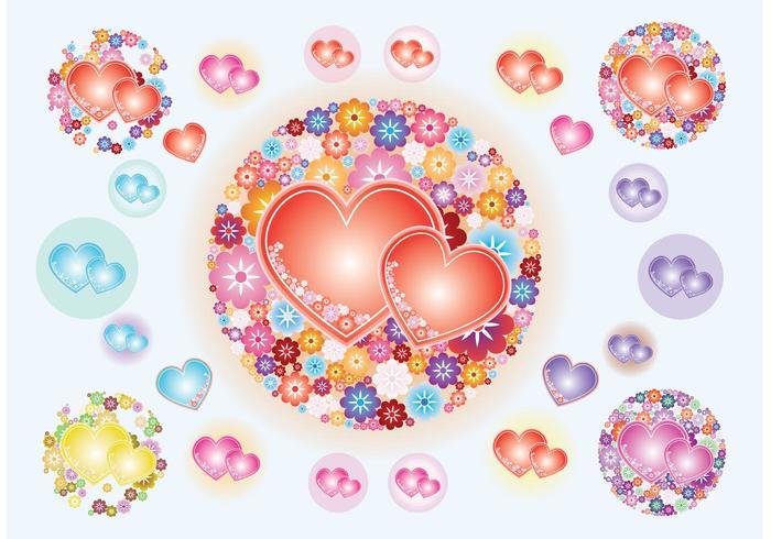 Heart Flowers Vectors