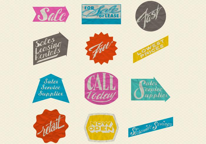 Retro Wrinkled Paper Sale Labels Vector Set